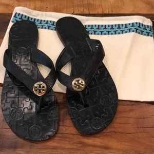 Tory Burch Navy Leather Sandals - 8M